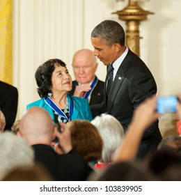 WASHINGTON - MAY 29: Civil rights and women's advocate, Dolores Huerta, receives the Presidential Medal of Freedom at a ceremony at the White House May 29, 2012 in Washington, D.C.