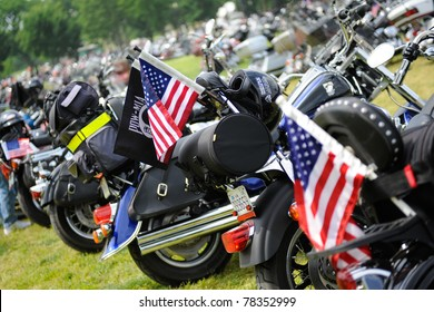WASHINGTON - MAY 29 :Flags are displayed at the annual Rolling Thunder rally to remember POWs and MIAs of the Vietnam War on May 29, 2011 in Washington, D.C.