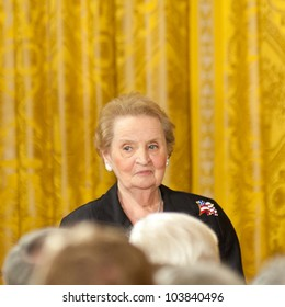 WASHINGTON - MAY 29: Former Secretary of State Madelieine Albright waits before receiving the Presidential Medal of Freedom by President Barack Obama at the White House May 29, 2012 in Washington, D.C.