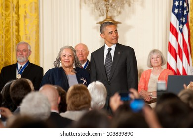 WASHINGTON - MAY 29: Novelist Toni Morrison waits to receive the Presidential Medal of Freedom at a ceremony at the White House May 29, 2012 in Washington, D.C.