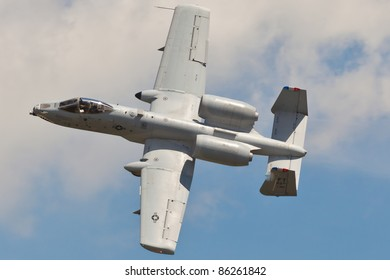 WASHINGTON - MAY 9:A-10 Warthog performing air show demo showing capability and characteristic of A-10 Thunderbolt II on May 9, 2011 in Washington. A-10 is close air support jet called Tank Buster