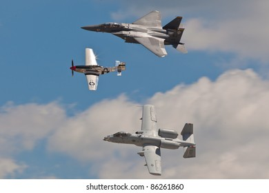 WASHINGTON - MAY 9:f-15, p-51, a-10 Performing Heritage Flight to honor US Air Force veterans from the past wars on May 9, 2011 in Washington. All 3 planes are representing different era of aviation