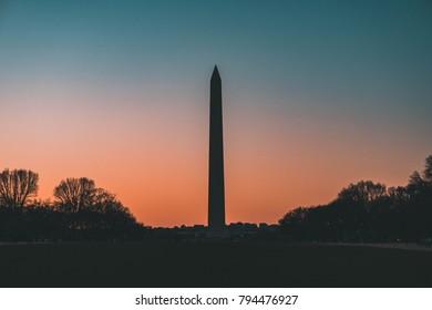 washington memorial sunset