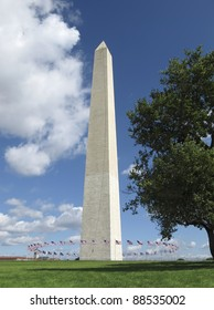 The Washington Monument is a 555 feet obelisk built as a memorial to George Washington, first President of the United States.