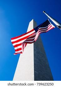 Washington Monument and American Flag, Blue sky