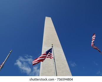 Washington Monument and American flags in Washington DC