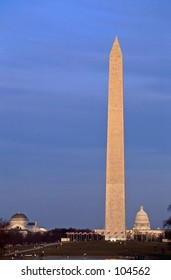 Washington Monument and Capital Building at Sunset, Washington DC