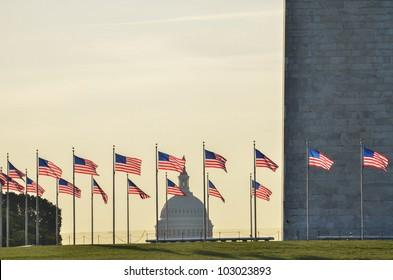 Washington Monument with capitol building silhouette, Washington DC, United States