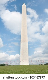 Washington Monument in DC Concrete Base, and USA Flags