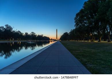 Washington Monument in DC early morning sunrise