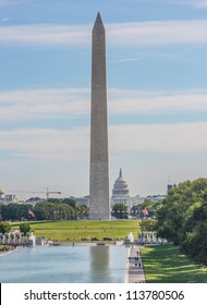 Washington Monument in Washington DC on cloudy day