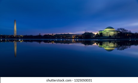 The Washington Monument And Jefferson Memorial at Dawn