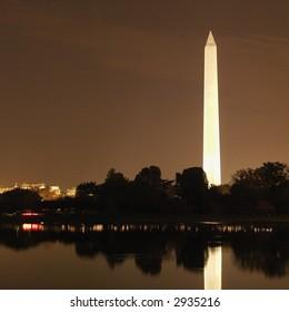 Washington Monument  at night in Washington, D.C., USA.