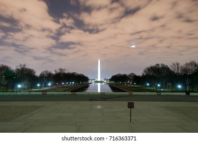 Washington Monument at night in the District of Columbia, USA.