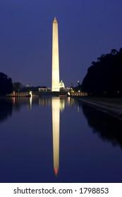 washington monument at night with reflection