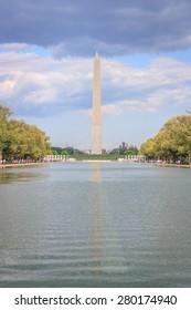 Washington monument and reflecting pool - May 2, 2015, view from Lincoln memorial, Washington DC, USA