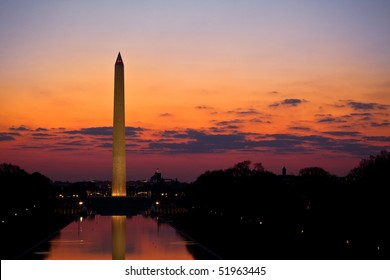 Washington Monument and Reflecting Pool at Sunrise