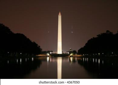 washington monument reflection at night