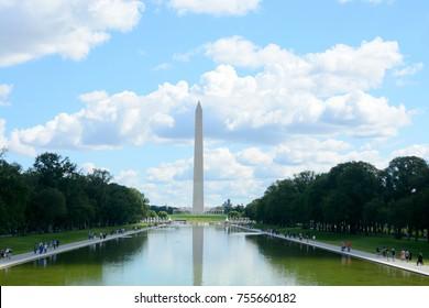 Washington monument reflection on the pool