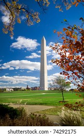 Washington Monument surrounded by autumn leaves.  Shot with a wide angle lens.