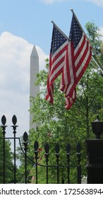 Washington monument from White House's flags side