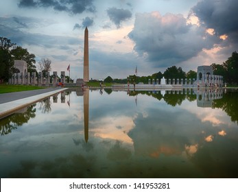 Washington Monument and the WWII memorial reflection in Washington DC.
