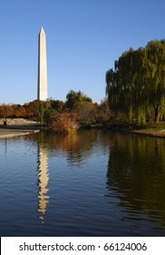 Washington National Memorial and its reflection in the lake.