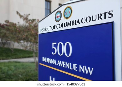 WASHINGTON - NOVEMBER 2, 2019: DISTRICT OF COLUMBIA COURTS - APPEALS and SUPERIOR COURT sign at building exterior