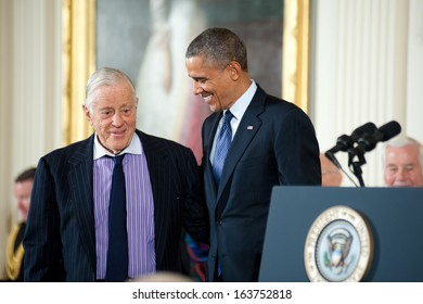 Washington - November 20: Ben Bradlee waits to receive the Presidential Medal of Freedom from President Obama at a ceremony at The White House on November 20, 2013 in Washington, DC.