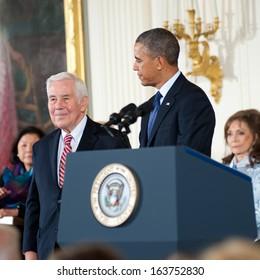 Washington - November 20: Former U.S. Senator Richard Lugar receives the Presidential Medal of Freedom at a ceremony at The White House on November 20, 2013 in Washington, DC.