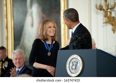 Washington -Â?Â? November 20: Gloria Steinem is congratulated after receiving the Presidential Medal of Freedom from President Obama at The White House on November 20, 2013 in Washington, DC.