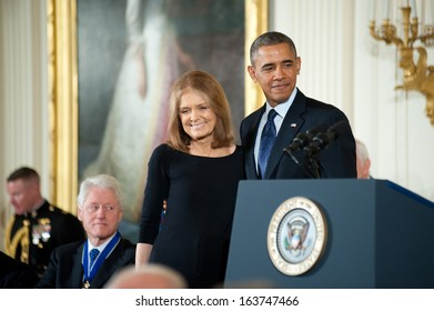Washington � November 20: Gloria Steinem waits to receive the Presidential Medal of Freedom from President Obama at a ceremony at The White House on November 20, 2013 in Washington, DC.