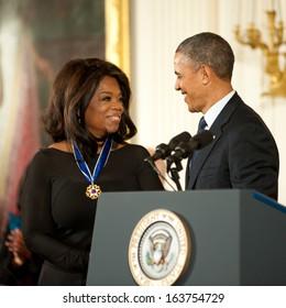 Washington -Â?Â? November 20: Oprah Winfrey receives the Presidential Medal of Freedom at a ceremony at The White House on November 20, 2013 in Washington, DC.