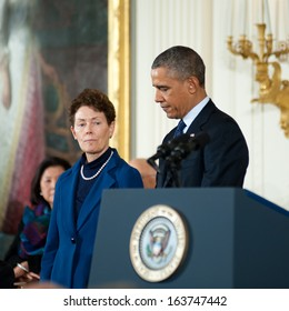 Washington - November 20: Sally Ride is awarded a posthumous Presidential Medal of Freedom at The White House on November 20, 2013 in Washington, DC.  Her partner Tam O'Shaughnessy accepted.