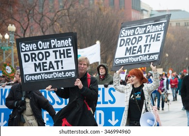 WASHINGTON - NOVEMBER 29: Marchers of a farm animal rights group take part in the Global Climate March in Washington, DC on November 29, 2015.