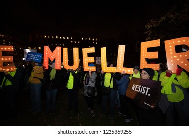 "WASHINGTON NOVEMBER 8:  Participants in the ""Nobody is Above the Law"" rally show support for special counsel Robert Mueller's investigation on November 8, 2018 in Washington DC"