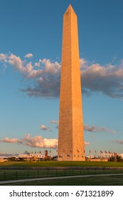 The Washington Obelisk During Sunset Light
