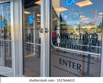 WASHINGTON - OCTOBER 10, 2019: District of Columbia Courts - Moultrie Courthouse - Superior Court - Sign at exterior