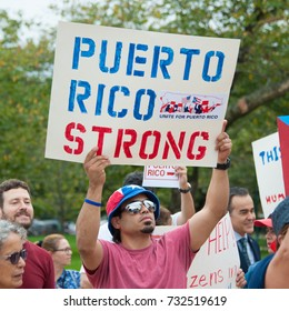 WASHINGTON OCTOBER 11: A participant at the Unite for Puerto Rico Washington Rally in Washington DC on October 11, 2017
