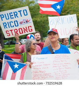 WASHINGTON OCTOBER 11: Participants at the Unite for Puerto Rico Washington Rally in Washington DC on October 11, 2017