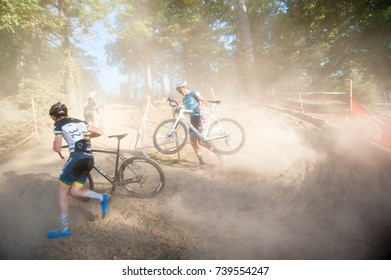 WASHINGTON OCTOBER 22 – A cyclist competes in DC's cyclocross event, DCCX, on October 22, 2017 in Washington DC