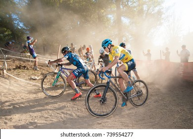 WASHINGTON OCTOBER 22 – Elite male cyclists compete in DC's cyclocross event, DCCX, on October 22, 2017 in Washington DC