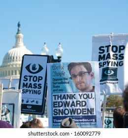 WASHINGTON - OCTOBER 26: Protesters rally against mass surveillance during an event organized by the group Stop Watching Us in Washington, DC on October 26, 2013.