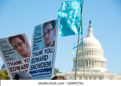 WASHINGTON - OCTOBER 26: Signs held by protesters during a rally against mass surveillance in Washington, DC on October 26, 2013.