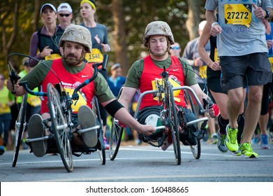 WASHINGTON - OCTOBER 27: A blind amputee competes in the Marine Corps Marathon on October 27, 2013 in Washington, DC