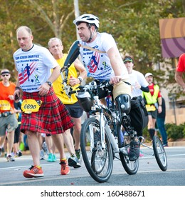 WASHINGTON - OCTOBER 27: A triple amputee competes in the Marine Corps Marathon on October 27, 2013 in Washington, DC