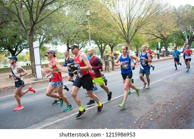 WASHINGTON OCTOBER 28: Runners compete in the Marine Corps Marathon on October 28, 2018 in Washington DC