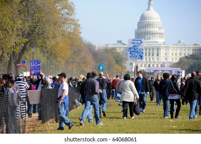 WASHINGTON - OCTOBER 30: Participants gather at the Rally to Restore Sanity and/or Fear on the National Mall on October 30, 2010 in Washington.