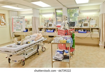 WASHINGTON - OCTOBER 9: ACLS (Advanced Cardiac Life Support) classroom shows equipment used to train healthcare workers to rescue people in cardiac or respiratory arrest on October 09, 2010, in Washington.