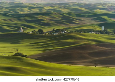 Washington Palouse. A spectacular sunset view from Steptoe Butte State Park of the surrounding farmland and small towns. From the top of the butte, the eye can see 200 miles.